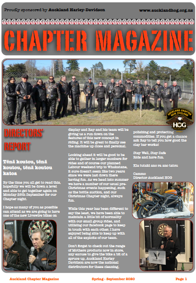 The latest edition of Auckland HOG magazine is out now. To view on the website you must login first, otherwise simply open it in the Member Jungle App.